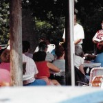 """1991 July Sun. School Picnic at Cale's Ford/Wolford's Ruritan Park w/ pastor Deb McKown, Bill Chaney, """"Granny"""" Parish, Don Wolford"""